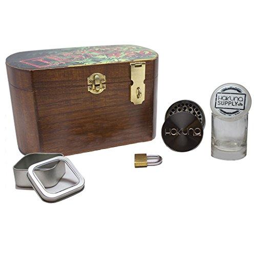 XL Wooden 420 Stash Lock Box - 10 Pc. Smoke Accessories Bundle,...