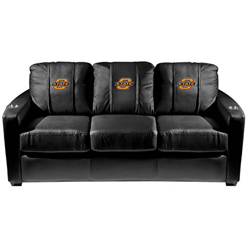 XZipit College Silver Sofa with Oklahoma State Cowboys Logo Panel, Black