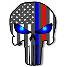 "(SET OF 2) 1- PUNISHER SKULL STICKER 4x6 and 1 GREEN RED BLUE LINE FLAG DECAL STICKER 3X5"" SUPPORT POLICE , TROOPS EMT/FIRE N RESCUE - AND ONE FREE RED LINE PUNISHER - BUY NOW !"