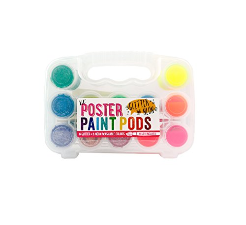 (Ooly Lil' Poster Paint Pods - Set of 12 - 6 Neon and 6 Glitter Colors - Washable - Brush Included)