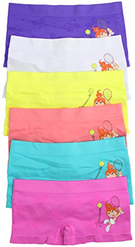 Tennis Panties Shorts - ToBeInStyle Girls' Pack of 6 Seamless Boyshorts - Tennis Player - Medium
