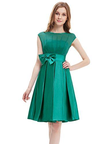 Ever Pretty Womens Round Neckline Bowtie Satin Cocktail Party Dress 4 US Green