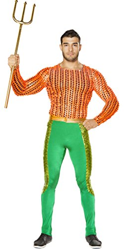 [Aqua Man Girl Halloween Costume - Orange/Green - Large] (Aquaman Halloween Costumes)