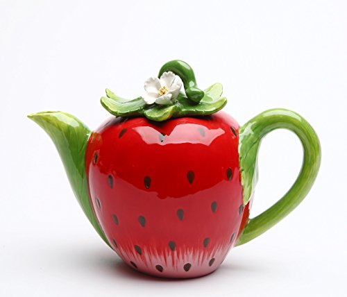 """Cosmos Gifts 20833 Strawberry Teapot 5 1/4""""H"""