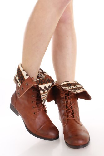 DBDK Elegant Womens Faux Leather Combat Boot - stylishcombatboots.com