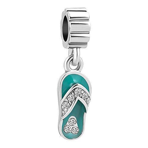 SexyMandala Fashion Flip-Flop Sandal Slipper Beach Green Enamel Charm Shoe Beads for European Bracelets