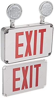 Morris Products Wet Location Combo LED Exit Emergency Light - Red LED Color, White Housing - Compact Design, Energy Saving - Fully Automatic - Thermoplastic, Glare Free, Adjustable - High Output