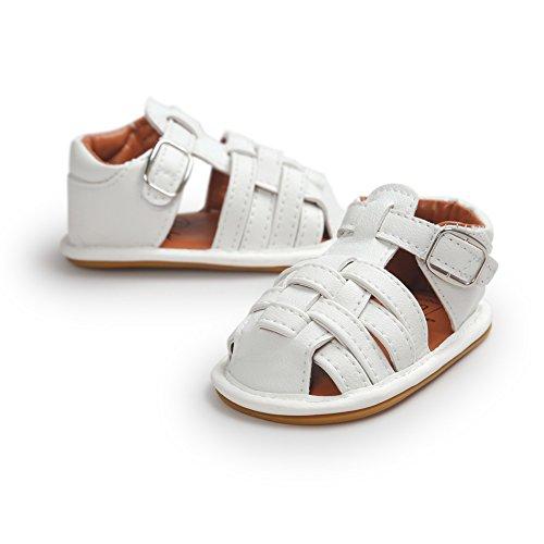 Etrack-Online Baby Sandals - Zapatos primeros pasos de Piel Sintética para niño blanco