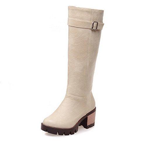 AgooLar Damen Mittler Absatz Wasserdicht Plattform PU Reißverschluss Stiefel Cremefarben