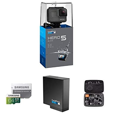 GoPro HERO5 Black 4K Action Camera , Samsung 64GB Memory Card , GoPro Rechargeable Battery with AmazonBasics Carrying Case for GoPro - Large