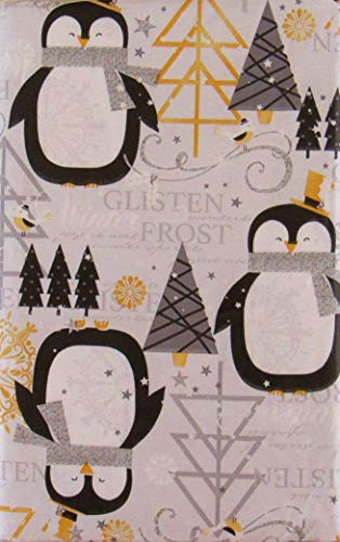 (Christmas Penguins in a Glistening Winter Frost Vinyl Flannel Back Tablecloth (52