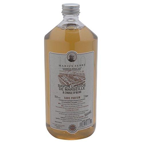 Marius Fabre 1900 Marseilles Liquid Soap Fragrance Free 1L 33.8 fl oz Refill