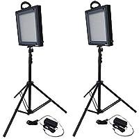 Bescor FP-500K Bi-Color LED Two Light Kit, Includes 2 x FP-500 Bi-Color LED Lights, 2 x Universal AC Adapters, 2 x 6.2 Light Stands
