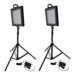 Bescor FP-500K Bi-Color LED Two Light Kit, Includes 2 x FP-500 Bi-Color LED Lights, 2 x Universal AC Adapters, 2 x 6.2\' Light Stands