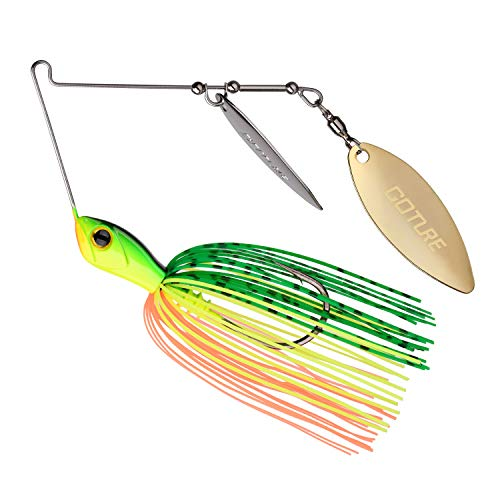 Goture Double Willow Blade Spinnerbait - Metal Spinner Fishing Lures for Bass Pike 1/2oz