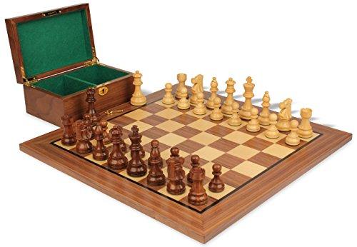 French Lardy Staunton Chess Set in Golden Rosewood & Boxwood with Walnut Board & Box - 3.75