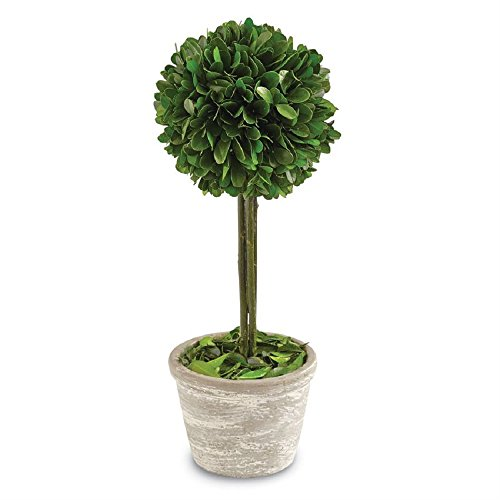 Mud Pie 4265535 Single Boxwood Topiary Home Decor Artificial Plant by Mud Pie