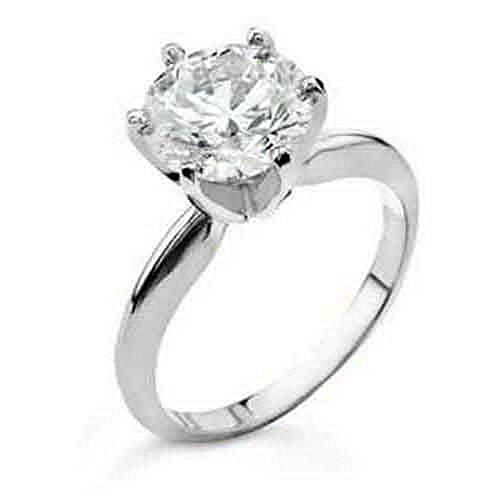 Engagement Rings Kuwait: 14k White Gold 1 Carat Solitaire Brilliant Round Cut