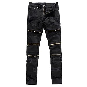 XARAZA Men's Distressed Ripped Biker Moto Denim Pants Slim Fit Zipper Jeans