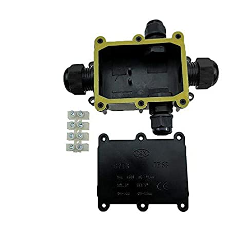 SENRISE color negro caja de conexiones el/éctricas externa negro Caja de derivaci/ón impermeable IP68 para iluminaci/ón exterior