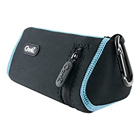 Cambridge SoundWorks Official OontZ Angle 3 Bluetooth Speaker Carry Case (Black with Blue Stitching), Neoprene with Aluminum Carabiner, reinforced zipper [NOT FOR OontZ Angle 3 PLUS]