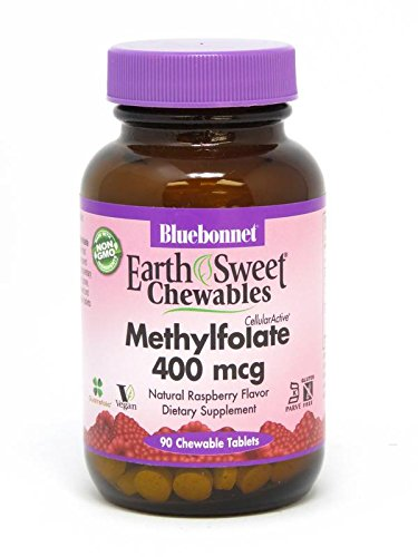 Bluebonnet Earth Sweet Cellular Active Methylfolate 400 mcg Chewable Tablets, 90 (400 Mcg 90 Tablets)