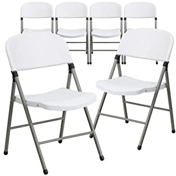 Flash Furniture 6pk Hercules Series 330 lb  Capacity White Plastic Folding  Chair with Gray Frame