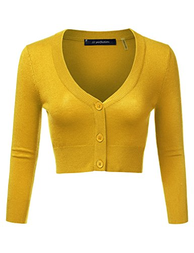 JJ Perfection Women's Solid Woven Button Down 3/4 Sleeve Cropped Cardigan Honey XL