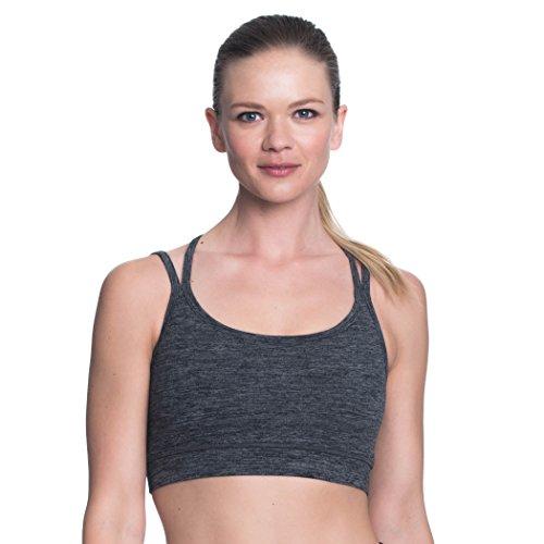 Gaiam Women's Strappy Wireless Sports Bra - Medium Impact Racerback Workout & Yoga Bralette - Charcoal Heather, Large Gaiam Bra