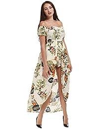 Women's Off Shoulder Party Maxi Romper Dress Split Floral...
