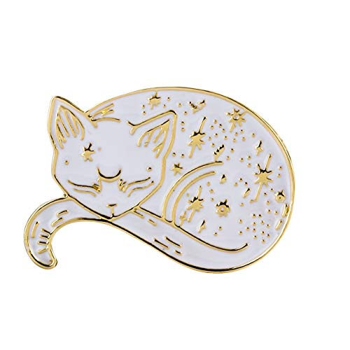 10K Gold Color Cute Black and White Enamel Sleepy Lazy cat Pin and Brooch (White Gold)