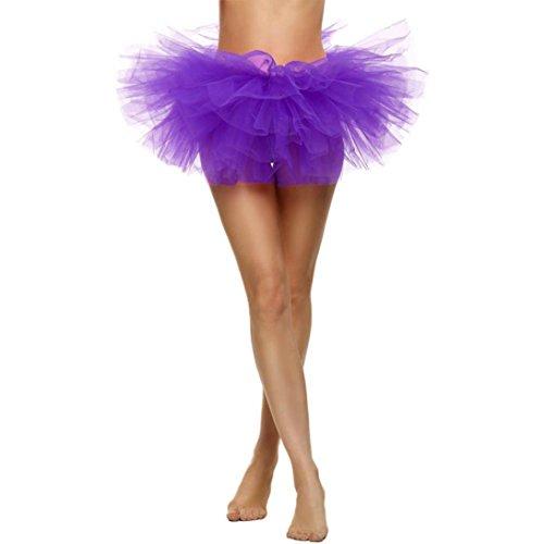 Jupe adulte Tutu 5 couches, Lenfesh Robe extensible en tulle extensible pour femmes Violet
