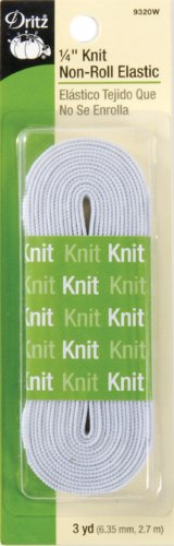 (Knit Non-Roll Elastic 1/4 Inch Wide 3 Yards/Pkg-White)