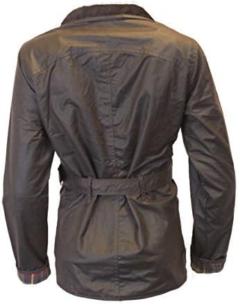 Walker & Hawkes - Giacca da donna con cintura cerata, 4 tasche, colore: Marrone