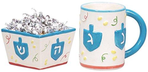 (Chanukah Mug & Candy Dish Set Hand Painted Ceramic - Hanukkah Mug)