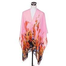 TrendsBlue Elegant Chiffon Floral Sheer Kimono Wrap Cardigan Beach Cover Up