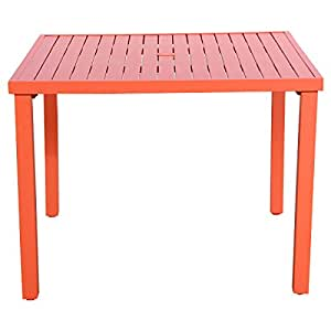 Orange Slat Steel Outdoor Square Dining Table Patio Furniture Garden Deck