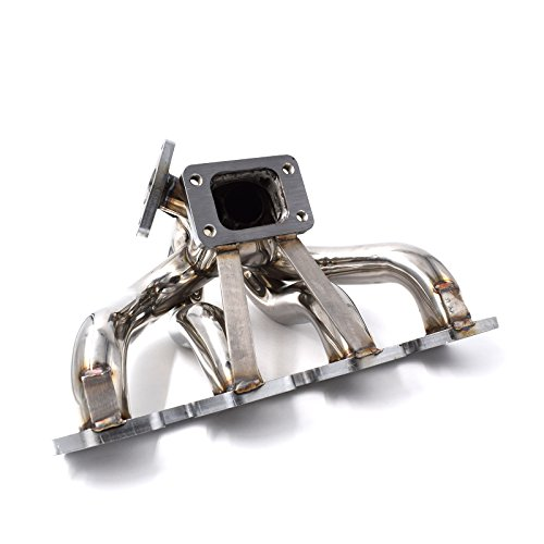 (Turbo Manifold Center Mount Equal Length Runners 42mm O/D FOR 2.3L Ford Mustang SVO Thunderbird Turbo Coupe   Fits T3 T3/T4 Turbo   Fits 35/38mm Wastegate   304 Stainless Steel   Polished Surface)