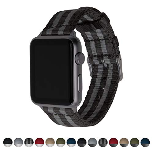Archer Watch Straps Seat Belt Nylon Watch Bands for Apple Watch (Black/Gray, Space Gray, 42mm)