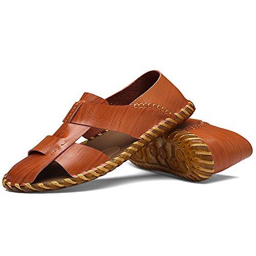 traspiranti per coperto pelle sudore la Sandali chiusi adatti da Brown spiaggia tempo da uomo all'aperto e per uomo in in sandali libero il sandali antiscivolo regolabili pelle assorbenti al Sandali XzUvzwpg