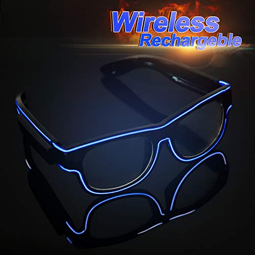 YouRfocus Light Up Glasses Glow in The Dark Party Favor Wireless LED Glasses Flashing and Blinking for Rave Party, Halloween, Christmas, EDM