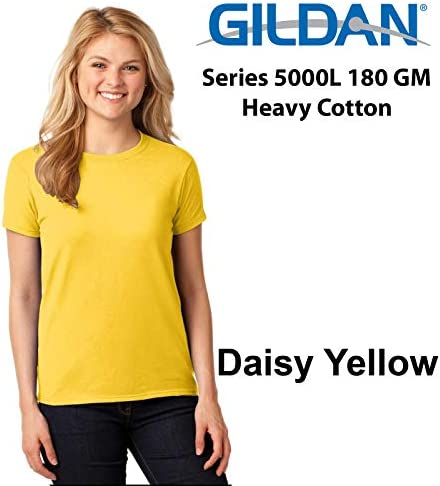 Gildan T-SHIRT Blank Plain Black Tee Top Female Ladies Women/'s Heavy Cotton