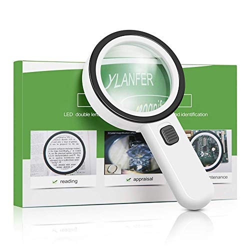 30X High Power Handheld Magnifying Glass with Led Light, Double Glass Lens Jumbo illuminated Magnifier Glasses for Reading, Soldering, Inspection, Coins, Jewelry, perfect for Macular Degeneration