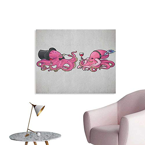 Anzhutwelve Octopus Wall Paper Cartoon Art Illustration of Octopuses in Fun Retro Costumes at Party Vintage Style Poster Print Pink Grey W32 xL24 ()