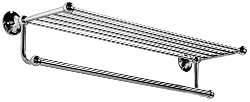 WS Bath Collections Venessia Collection Towel Rack with Towel Bar, 23.6'', Polished Chrome by WS Bath Collections