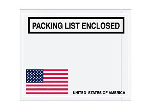 RetailSource E050401UA1000 U.S.A. Flag (Corner) Packing List Enclosed Envelopes, 5.5