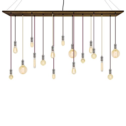 (Wood Chandelier - Wine Mixed Color Cords Nickel Sockets and Antique Bulb Edison Mix)