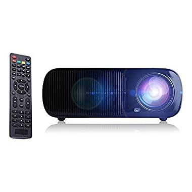 iRULU Portable Multimedia LED Video Projector 2600 Lumens with VGA USB SD AV HDMI for Home Cinema Theater, Child Games - Black