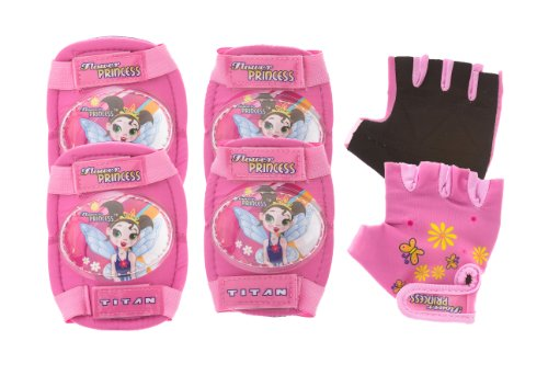 Titan Flower Princess Multi-Sport (Bike, BMX, Skateboard) Pink Girls Elbow and Knee Pads with Gloves