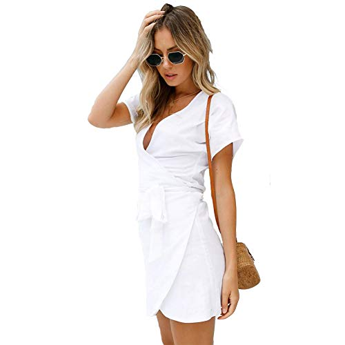 DSHT Women's Fashion Short Sleeve Party Bodycon Sheath Belted Dress with Belt Wear to Work White